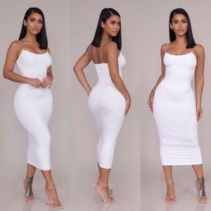 Dresses & Skirts - Belted Midi Dress-White